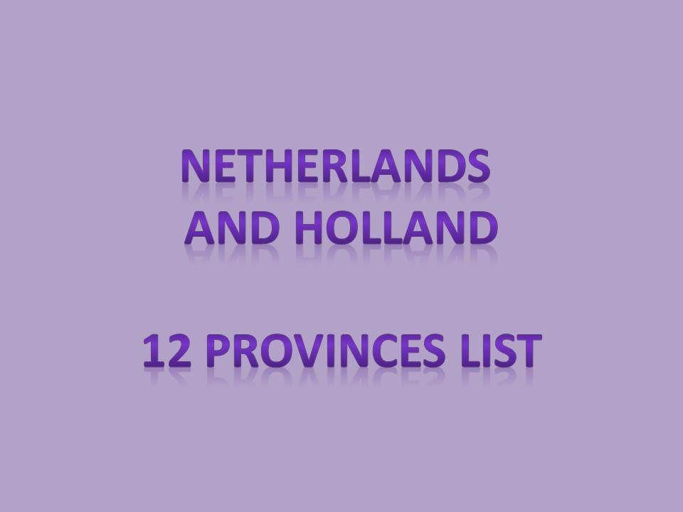 12 provinces of netherlands