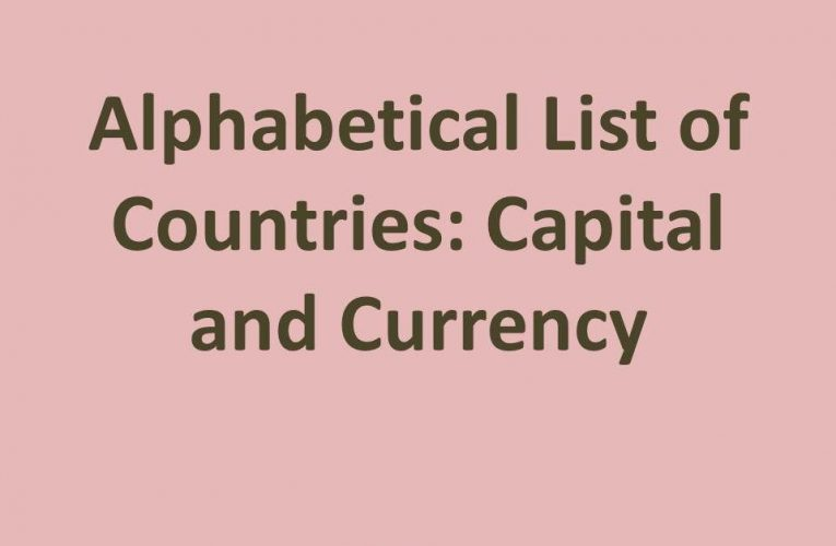 Alphabetical List of Countries: Capital and Currency