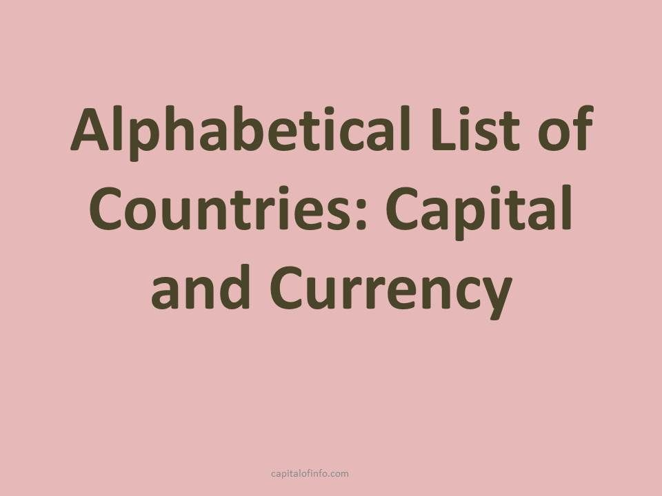 list of all countries with capitals and currencyes